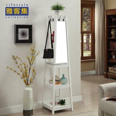 【實木 360度旋轉】雅客集白色旋轉穿衣鏡WN-15019WH 掛衣架 客廳置物架