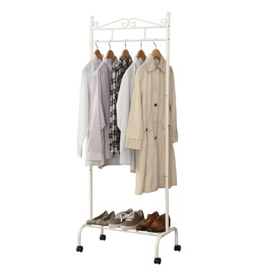 雅客集白色卡洛斯欧式移动挂衣架ML-16021WH 落地衣帽架 春季室内室外晾衣架