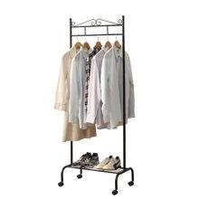 雅客集黑色卡洛斯欧式移动挂衣架ML-16021BL 门厅衣帽架 多功能落到置物衣服架