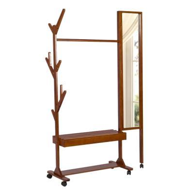 雅客集穿衣鏡掛衣架WN-15084 多功能實木衣帽架可移動衣架鞋架穿衣鏡一體組合