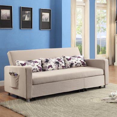 雅客集客廳伸縮鐵架麻布布藝沙發布蘭琪多功能沙發床FB-16035GA