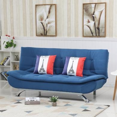 雅客集藍色時尚棉麻布藝沙發三擋兩用沙發床尤蘭達休閑沙發FB-18081BU