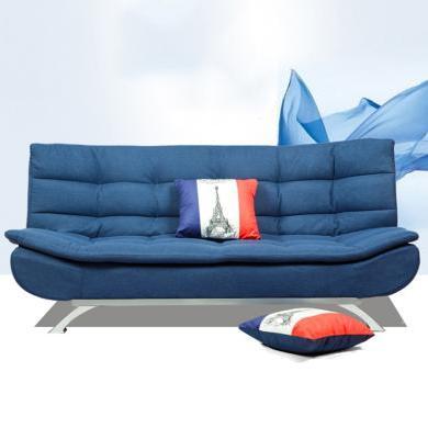 雅客集藍色時尚棉麻布藝沙發三擋兩用沙發床尤蘭達休閑沙發FB-18081BU 可拆洗