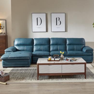 HJMM頭層牛皮真皮沙發組合 客廳現代轉角大小戶型