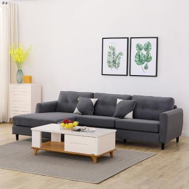 HJMM現代簡約布藝沙發組合大小戶型客廳七字型轉角
