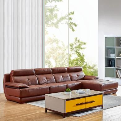 HJMM現代簡約客廳真皮沙發組合整裝 轉角頭層牛皮沙發