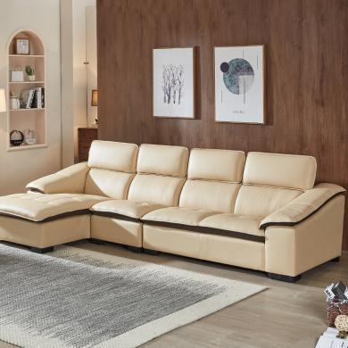 HJMM真皮沙發頭層牛皮簡約現代轉角組合客廳時尚皮藝沙發調節靠背