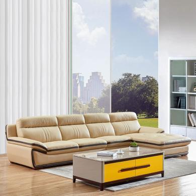 HJMM現代簡約客廳真皮沙發組合整裝轉角頭層牛皮沙發
