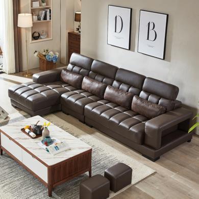 HJMM真皮沙發頭層牛皮簡約現代轉角組合客廳時尚皮藝沙發調節靠背大小戶型