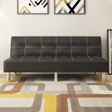 雅客集英倫時尚黑色皮質沙發床 格瑞絲休閑沙發FB-19096BL 客廳辦公室兩用午休睡覺沙發