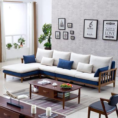 HJMM北欧风格沙发小户型客厅全实木白蜡木现代简约三人位免洗布艺沙发