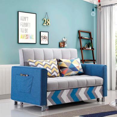 HJMM现代沙发组合沙发床双人布艺小户型沙发宜家脚踏