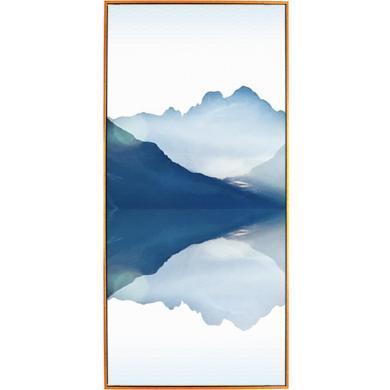 DEVY新中式水墨客廳裝飾畫風水招財山水沙發背景中國風四聯畫墻畫