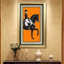 DEVY 欧式轻奢马玄关装饰画美式客厅壁画走廊单幅挂画客餐厅壁画