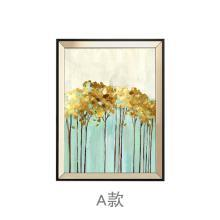 墨菲欧式抽象沙发背景墙客厅三联装饰画美式样板房玄关壁画金叶子