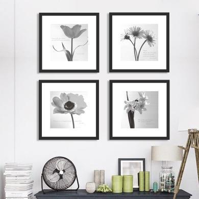 墨菲 有框組合裝飾畫客廳現代簡約黑白花卉卡紙畫沙發背景墻掛畫