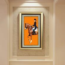 墨菲 欧式轻奢马玄关装饰画美式客厅壁画走廊单幅挂画客餐厅壁画
