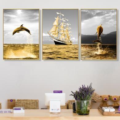 DEVY 現代簡約客廳裝飾畫大氣沙發背景墻油畫壁畫歐式美式墻畫掛畫