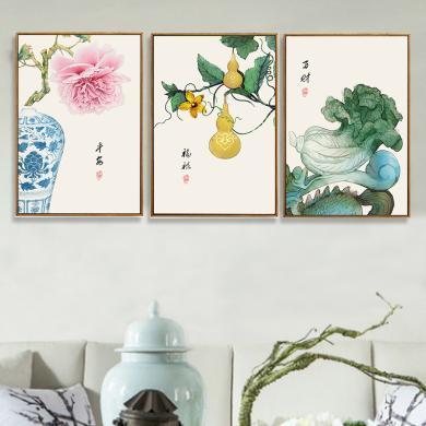 DEVY 客廳裝飾畫沙發背景墻掛畫三聯畫新中式高檔大氣植物壁畫