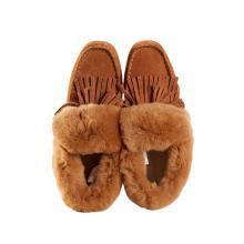 多样屋翻边兔毛休闲牛绒女鞋棉鞋秋冬季新款女式时尚居家外穿棉鞋