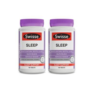 2瓶*澳洲swisse睡眠片褪黑素 瑞思進口保健品幫助睡眠100粒【香港直郵】