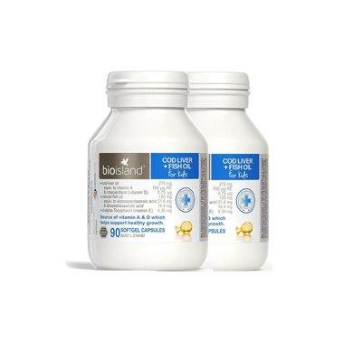 2瓶*澳洲Bio island佰�W朗德�胗�瑚L�~肝油�~油�z囊�S生素AD90粒【香港直�]】