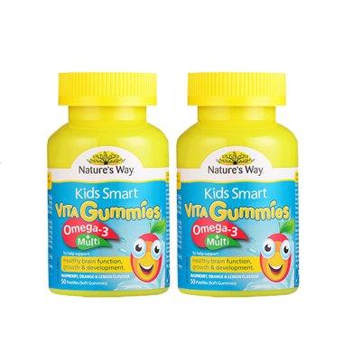 2瓶*澳洲Nature's Way佳思敏复合维生素+omega3软糖(新旧包装随机发货)60粒【香港直邮】