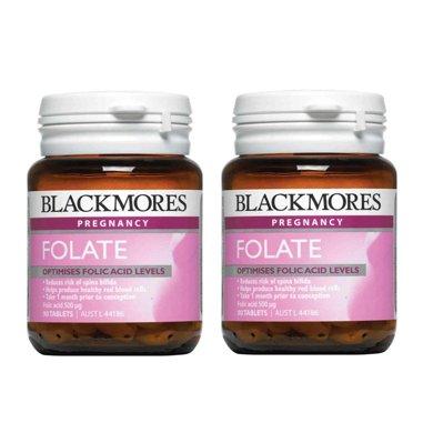 2瓶*澳洲澳佳宝Blackmores天然叶酸500高含量叶酸 ?#26143;?#23381;期必备(90粒)【香港直邮】