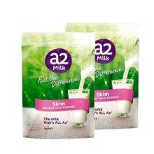 【香港直邮】澳洲A2脱脂奶粉高钙高蛋白 儿童学生孕妇老人1kg*2袋