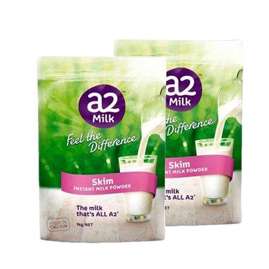 2袋*澳洲A2脫脂奶粉高鈣高蛋白 兒童學生孕婦老人1kg【香港直郵】