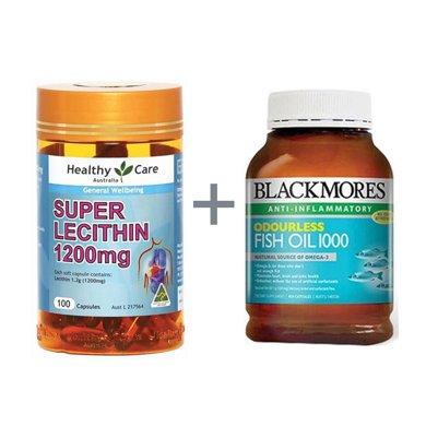 �M合*澳洲Blackmores澳佳��深海�~油400粒(去腥味)+澳洲Healthycare大豆卵磷脂��z囊100粒【香港直�]】