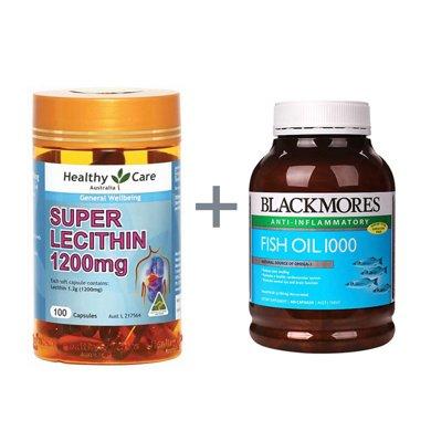 組合*澳洲Blackmores澳佳寶魚油 400粒/瓶(有腥味)+澳洲Healthycare大豆卵磷脂軟膠囊100粒【香港直郵】
