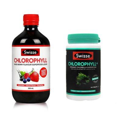 组合*澳洲Swisse叶绿素液薄荷味或莓果味500ml*1瓶装 + 澳洲瑞思swisse叶绿素片100粒【香港直邮】