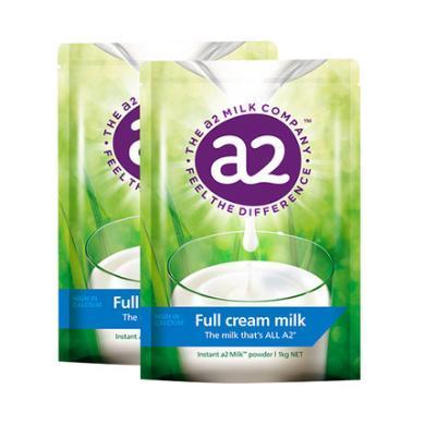 2袋*澳洲A2全脂奶粉高鈣高蛋白兒童成人中老年奶粉進口牛奶1kg【香港直郵】(新舊包裝隨機發貨)