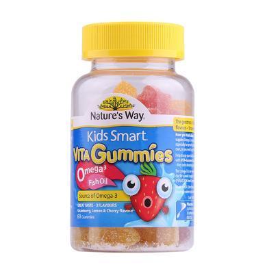 【支持购物卡】澳洲 Natures Way佳思敏 儿童欧米茄鱼油软糖 进口保健品 60粒