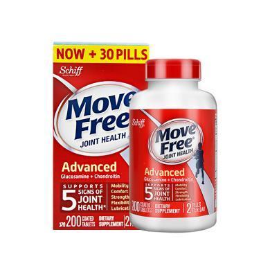 【支持购物卡】美国Schiff旭福 Move Free?#34987;?#33889;萄糖软骨素维骨力200粒 红瓶
