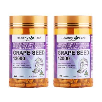 【支持購物卡】【2瓶】澳洲Healthy Care 葡萄籽精華膠囊 300粒 美容養顏