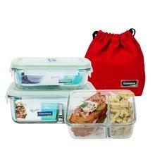 glasslock钢化玻璃保鲜盒饭盒微波炉冰箱收纳盒 含隔层 2件套( mcrb040+mcrk067)送保温袋