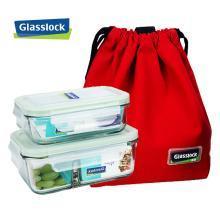 Glasslock 进口钢化玻璃分隔饭盒 耐热微波炉饭盒密封便当盒冰箱保鲜盒715ML+1000ML分隔 赠红色原装餐包
