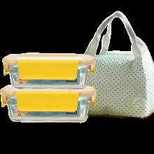 Glasslock新款玻璃饭盒微波炉烤箱饭盒便当盒保鲜盒可拆卸盖 送餐包