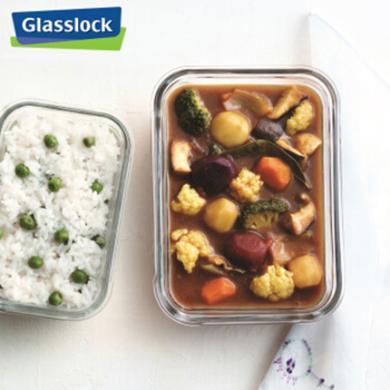 Glasslock韩国进口玻璃饭盒微波炉冰箱收纳盒保鲜盒2件套400ml+715ml送餐包