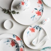 摩登主妇 春融 创意陶瓷碗盘组合家用牛排盘餐盘饭碗汤碗盘子套装