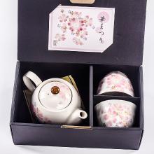 日本原装进口美浓烧和蓝 粉红樱花陶瓷茶具茶壶茶杯套装 现货