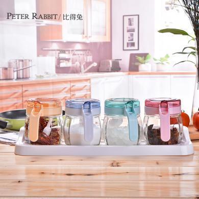 英國比得兔玻璃調味瓶罐調料罐調料盒調味盒鹽罐廚房家用組合套裝