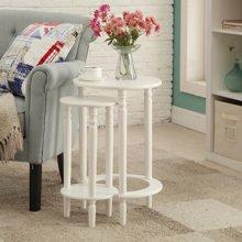 雅客集贝拉圆形套二桌WN-14250 小圆桌边几 茶几 电话几 实木花架 花几