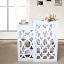 雅客集贝拉白色镂空套二桌WN-14248 大小二个桌子