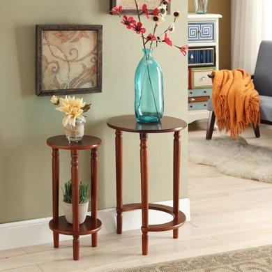 雅客集貝拉胡桃色圓形套二桌WN-14250WA  花桌 沙發邊桌 茶幾 咖啡桌