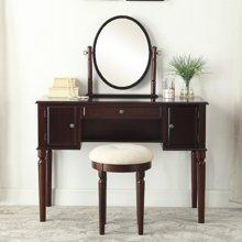 雅客集卧室美式梳妆台书桌椅子套装爱妮梦实木梳妆桌椅WN-17046CH