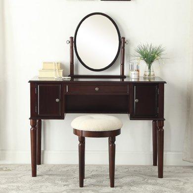 雅客集臥室美式梳妝臺書桌椅子套裝愛妮夢實木梳妝桌椅WN-17046CH
