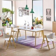 皇家爱慕北欧大理石餐桌椅组合家用 现代简约6人小户型实木桌子长方形饭桌